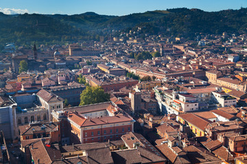 aerial view from Asinelli Tower on Bologna with mountain