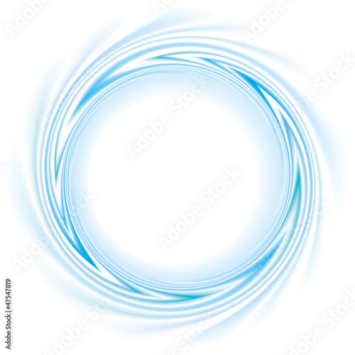 Vector frame with spiral curl the blue bands