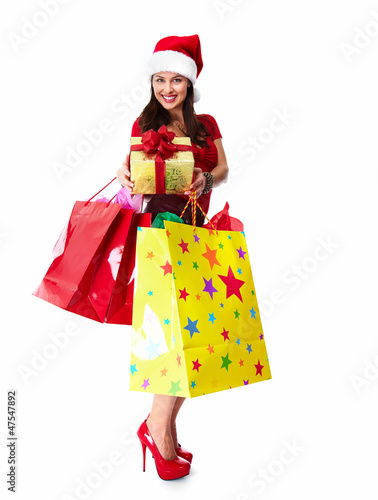 Christmas Shopping santa woman.