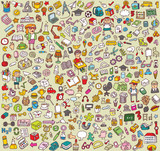 Fototapety Big School Icons Collection: objects, icons, people ...