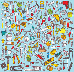Tools Collection: hand drawn illustrations of  tool icons