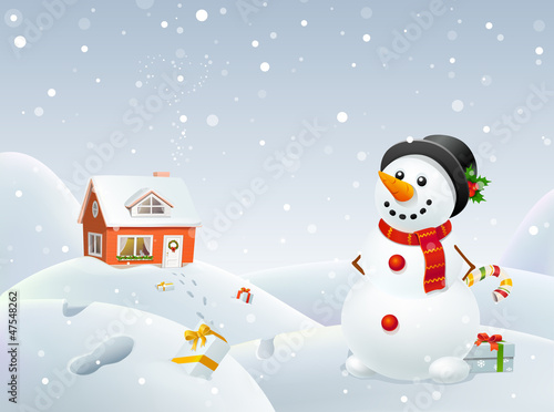 Christmas snowman helps Santa