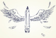 Pencil with wings. Hand-drawn. Vector illustration