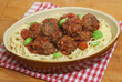 Meatballs in Tomato Sauce with Linguine Pasta