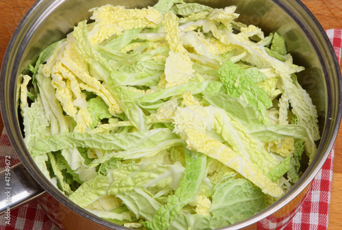 Savoy Cabbage in Saucepan