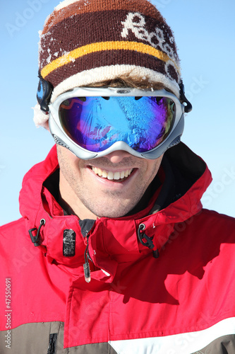 Man in ski goggles