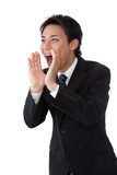 businessman screaming loudly