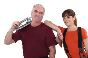 Pair of tile cutters