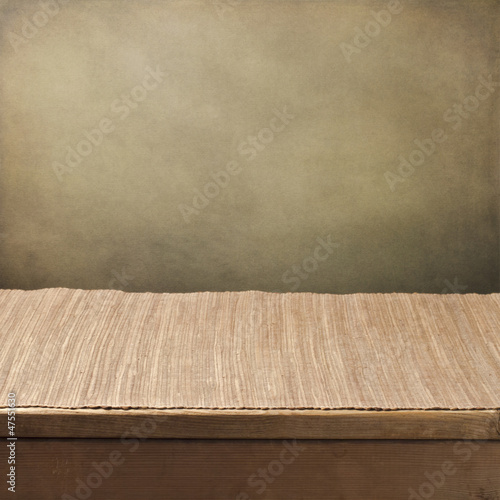 Grunge background with empty tabletop