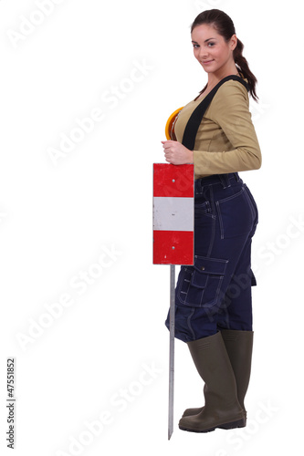 Female road worker
