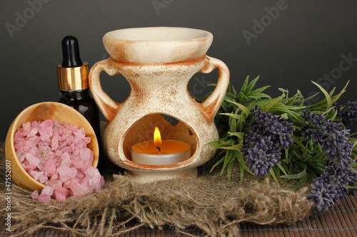 Aromatherapy lamp on grey background
