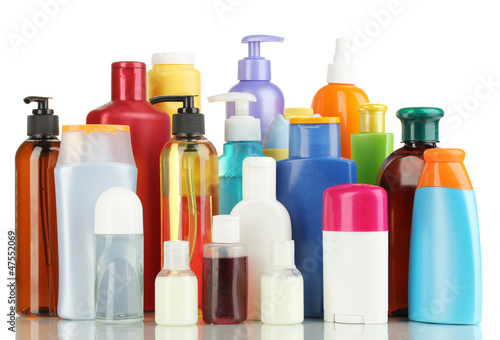 Leinwandbild Motiv A lot of different cosmetic products for personal care isolated