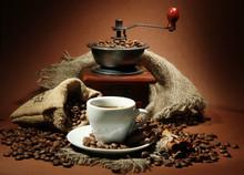 Filiżanka kawy, szlifierki, Turk i kawy
