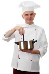 portrait of chef with pan isolated on white