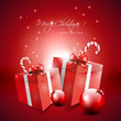 Red Christmas background with gifts and baubles