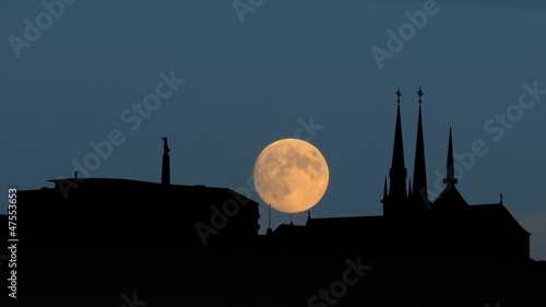 Luxembourg skyline moonrise