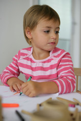 Little girl coloring in