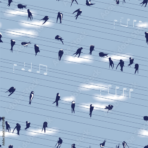 Swallows Seamless Pattern