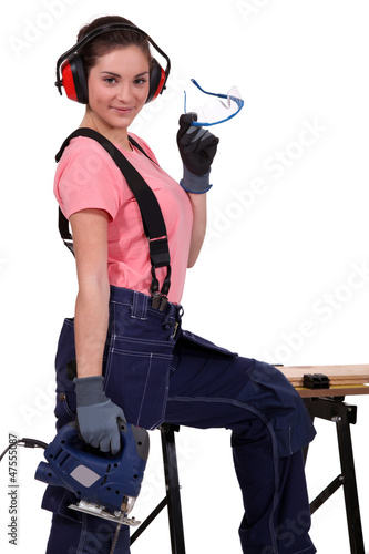 Woman with band-saw