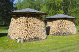 two shopped firewood stacks