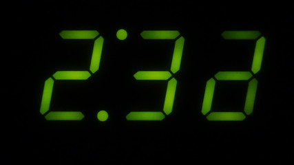 A green LED digital clock