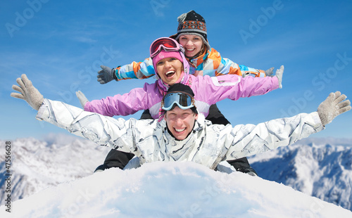 friends in winter resort