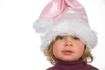 little girl with Santa Claus- cap