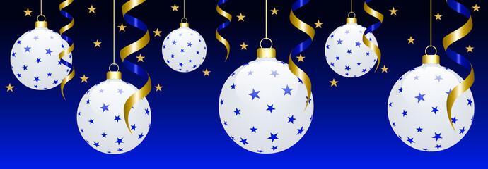 Bannière boules de Noël blanches étoilées