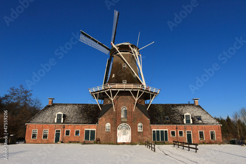 Dutch windmill in in winter.