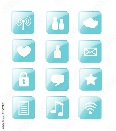 Blue vector social web buttons