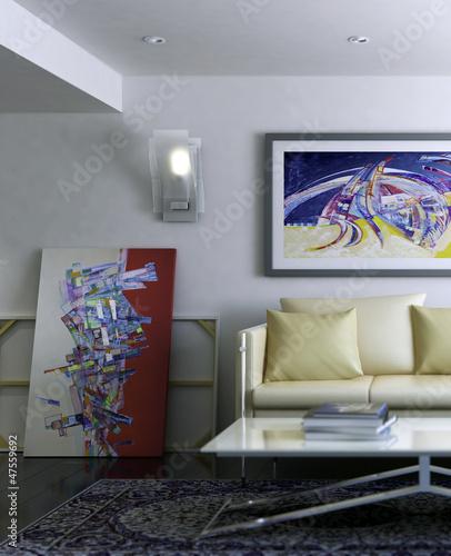 Modern Room with Artwork III (focused)