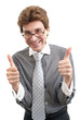 smiling business man with thumbs up gesture