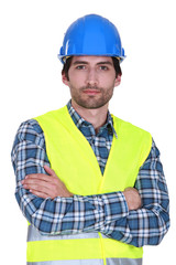 Confident construction worker portrait