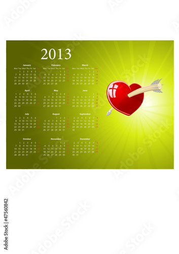 Vector European 2013 calendar for Valentines Day