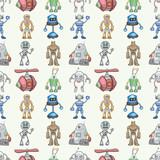 Fototapety seamless Robot pattern