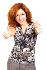 Happy woman thumbs up