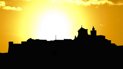 Malta Gozo Citadel golden sunset