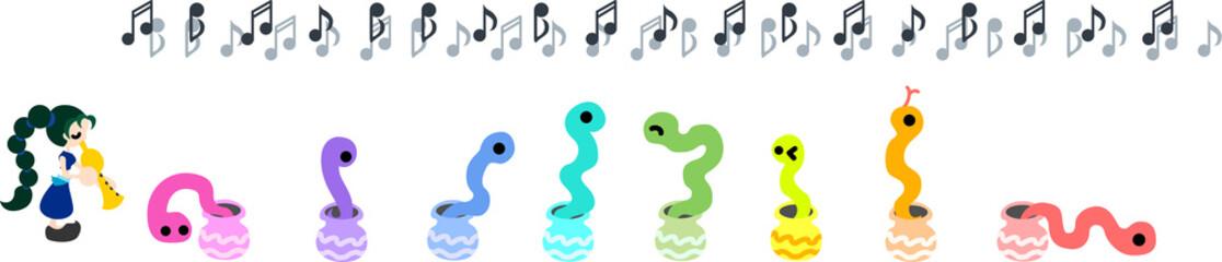 7色の蛇を笛で操る女の子。