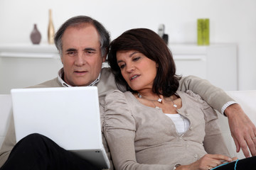 Mature couple sitting with computer