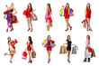 Great collection of beautiful shopping women in different positi