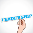 leadership word in hand stock vector