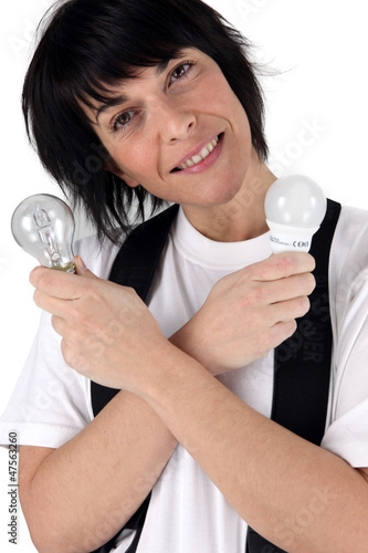 Woman holding energy saving light bulb