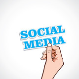 social media  word in hand stock vector
