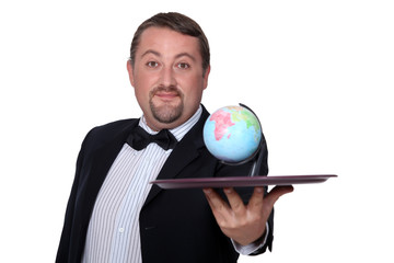 Waiter with globe on a tray