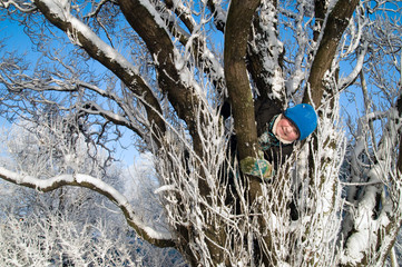 The boy on the winter tree