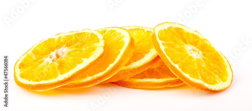 dried orange slices isolated on white background