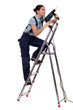 Woman with drill climbing ladder