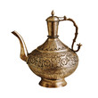 Vintage Indian teapot on a white background