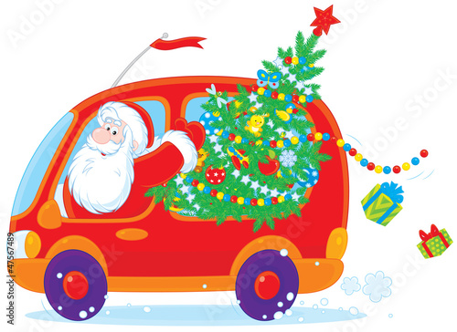 Santa carries Christmas tree and gifts in a red car