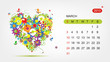 Vector calendar 2013, march. Art heart design